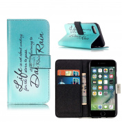 iPhone 7 Girl Phone Case, ELECDAY Smart Wallet Design Stand Cover with card holder
