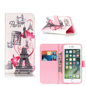 Apple iPhone 7 Leather Case, ELECDAY Smart Wallet Design Stand Cover with card holder