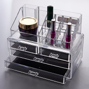 Clear Acrylic 4 Drawers Cosmetic Makeup Display Stand Storage Rack Box Case Vanity Table Jewellery Art Crafts Organiser BS3001