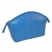 CTM Leather Zip Top Cosmetic Travel Case, Cobalt