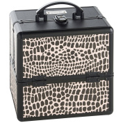Beautify Professional Small Lockable Vanity Make Up Beauty Storage Case - Black Crocodile Print