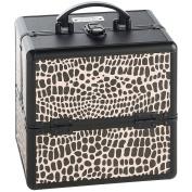Beautify Professional Small Lockable Vanity Make Up Beauty Storage Case - Black Crocodile Print