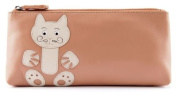 Ciccia Cat Whiskers Leather Make Up Pouch Or Pencil Case - Beige