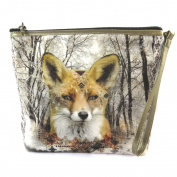 "Cosmetic bag 'Renard Sauvage'beige taupe - 19x16.5x5.5 cm (7.48""x6.50""x2.17"")."