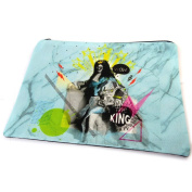 "Cosmetic bag 'Louis Xiv Relooké'light blue - 23x17 cm (9.06""x6.69"")."