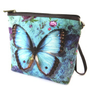 "Cosmetic bag 'Papillon Imaginaire'blue - 19x16.5x5.5 cm (7.48""x6.50""x2.17"")."
