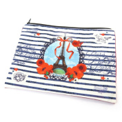 "Cosmetic bag 'Tour Eiffel Tatouage'beige navy red - 23x17 cm (9.06""x6.69"")."