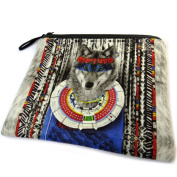 "Cosmetic bag 'Loup Indien'blue grey - 19x16 cm (7.48""x6.30"")."