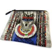 "Cosmetic bag 'Loup Indien'blue grey - 19x16 cm (7.48""x6.30"")."