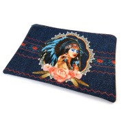 "Cosmetic bag 'Navajos'blue - 23x17 cm (9.06""x6.69"")."