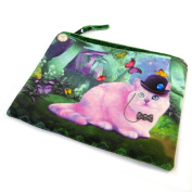 "Cosmetic bag 'Chat Wonderland'pink green - 19x16 cm (7.48""x6.30"")."