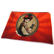 "Cosmetic bag 'Western Saloon'red - 23x17 cm (9.06""x6.69"")."