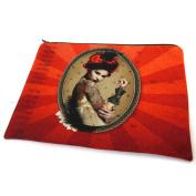 "Cosmetic bag 'Western Saloon'red - 23x17 cm (9.06""x6.69"")."