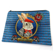 "Cosmetic bag 'Lapin Marin Tatoué'blue - 21x17 cm (8.27""x6.69"")."