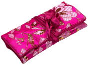 Hot Pink Gold Floral Print Embroidery Make Up Roll / Wrap /Jewellery Roll