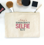 Personalised Embroidered 'Emergency SELFIE kit' canvas make up bag