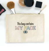 Canvas Embroidered Eyes make up bag