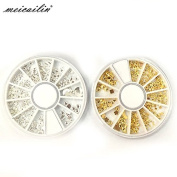Sindy 2 Pcs/Set 12 Design Wheel Micro Zircon Glitter 3D Nails Art Jewellery Decorations Charms Manicure Charms Alloy 3D Nail Art Cosmetic
