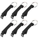 6 PCS Black Portable Pocket Keychain Beer Bottle Opener Keychain