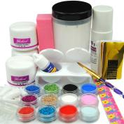 Coscelia 12PC Glitter Acrylic Powder Nail Art Tips Liquid Brush Files Glue Tool Set Kit
