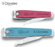 3 Claveles - Pack 2 Nail Clippers with Nail File for Hands and Feet in Stainless Steel Finish Soft Touch Collection lolilap Measure 6 and 8 cm