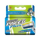 Dorco Pace 6+ Razor Manual Blades for Men - 4 Blades - Safe & Sensitive Shaving System with Trimmer