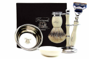 Ivory Colour Shaving Set For Men's Comes with a Pure Sliver Tip Badger Hair ,Brush Stand, Stainless steal Bowl and free Soap. Perfect as a Gift this Christmas.