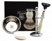 Pure Sliver Tip Badger Hair Brush In Ivory colour. Set includes Gillette Match 3 Razor, Black Brush & Razor Holder, Saving Bowl & FREE SOAP.. [Special Edition]