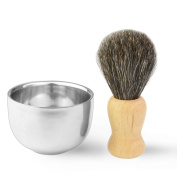 Men's Badger Hair Shaving Brush with Double Layer Stainless Steel Shave Bowl Mug Razor Brush Wood Handle for Face Cleaning by SUMERSHA