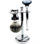 Golddachs Shaving Stand 100% Badger Hair, Metal Silver