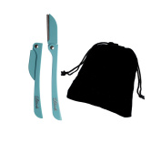Brow Shaper Hair Removal Dermaplaning Tool Set of 2 in Aqua with a Velvet Gift Bag. Hygienic, Portable and Pain Free