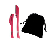 Brow Shaper Hair Removal Dermaplaning Tool Set of 5.1cm Pink with a Velvet Gift Bag. Hygienic, Portable and Pain Free