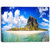 "Designart PT6898-100cm - 80cm Mauritius Beach Panorama Photography"" Canvas Print, Blue, 100cm x 80cm"