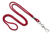 Red 0.3cm Round 90cm Braid Non-Breakaway Lanyard, Swivel Hook