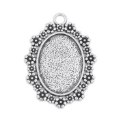 18x25mm Oval Floral Edge Pendant Tray Blank Base Cameo Cabochon Base Setting Pack of 20