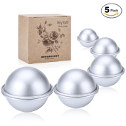 Fiery Youth DIY Metal Bath Bomb Moulds with 5 Perfect Size 5 Set 10 Pieces ✮ Mix Your Own Recipes with Sample Bath Bomb Kit ✮ Easy to Make Perfect Bath Bombs