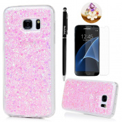 Badalink Galaxy S7 Case Shiny Glitter Sparkle Powder Series Shockproof Drop Protection Soft TPU Rubber Protective Bumper Sratchproof Slim-Fit Colourful Cover for Samsung Galaxy S7 - Pink