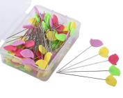 JoyFamily Multicolor Flat Brid Head Pins Boxed, 100 Pieces Pack