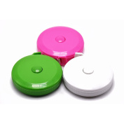 BUSHIBU Pink green white 3 pcs150 cm 60 Inch Push Button Soft Retractable Tape Measure Handy Pocket Tape Measure Double-Sided Tailor's Measuring Tape
