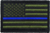 USA American Thin Blue Line Police Flag Tactical Hook and loop Fully Embroidered Morale Tags Patch