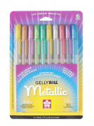 Sakura 57370 10-Piece Gelly Roll Blister Card Assorted Colours Metallic Gel Ink Pen Set