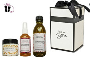 Skin Care Gift Box - Serum Cleanser and Face cream with Essential oils - Beautiful natural Gift