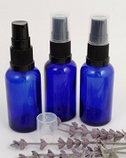 PACK OF 3 x Blue Glass Bottle 30ml with Black Serum/Lotion Pump. Top quality empty blue glass bottle suitable for Aromatherapy, Massage, Art, Crafts, First Aid, Travel Size Bottle for Beauty Gels, Serums and Lotions