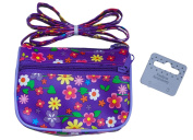 Little Girls Floral Print Purses Shoulder Purses with Long Strap (Purple) Size Approx 11cm x 8.5cm