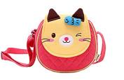 Moolecole Cartoon Animal Handbag Toddler Girls Boys Cotton Shoulder Bag Nursery/Hiking/Travel Bag Orange Cat