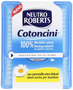 Neutro Roberts Cotoncini-Soft 100% Cotton, Biodegradable, With Built-In Card, Camomile, Also Suitable For Babies - 100 Pieces