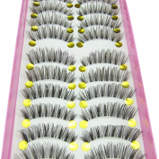 Gemini® Professional 10 Pairs Long Cross Black False Eyelashes Makeup Natural Thick Black Fake Lashes