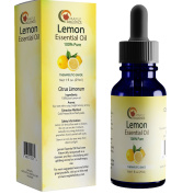 Lemon Essential Oil Therapeutic Grade Aromatherapy for Diffuser - 100% Pure Cold Pressed Undiluted Oil for Stress - Lemon Oil for Skin + Hair - Multipurpose Cleaner - Energising + Uplifting Aroma