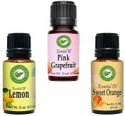 Citrus Trio - Best Selling Citrus Essential Oils- 1 Each 15 ml Sweet Orange, Lemon, Grapefruit - 100% Pure