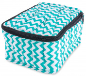 """Plant Therapy Soft Essential Oils Carrying Case. 30-bottle 5mL, 10mL,15mL & 30mL - 10cm x 15cm x 8"""" - Turquoise Chevron / Turquoise"""